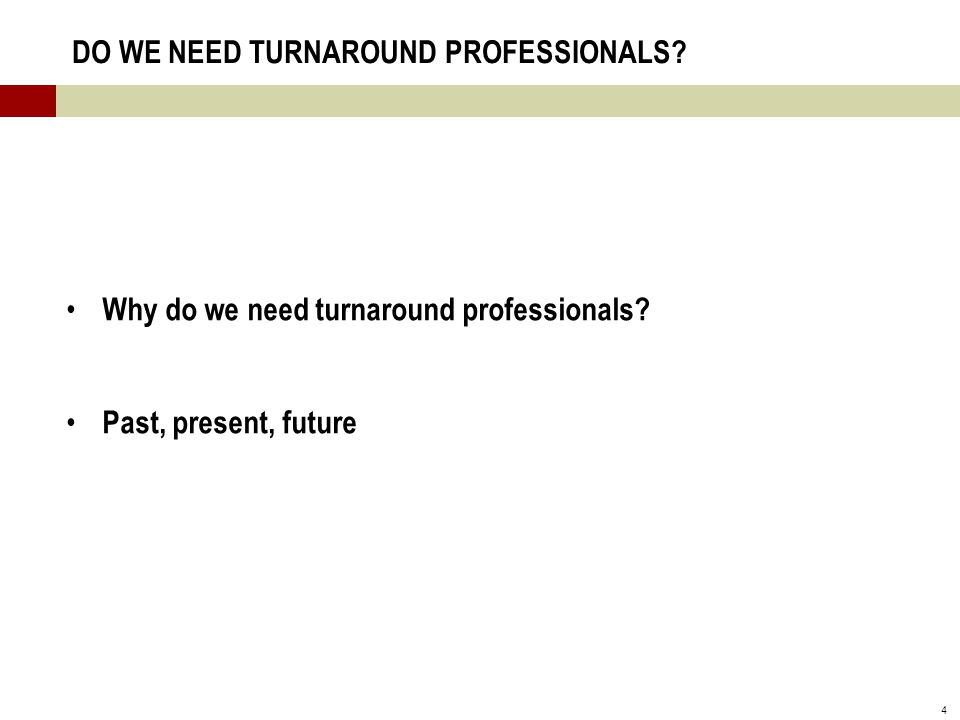 4 DO WE NEED TURNAROUND PROFESSIONALS. Why do we need turnaround professionals.