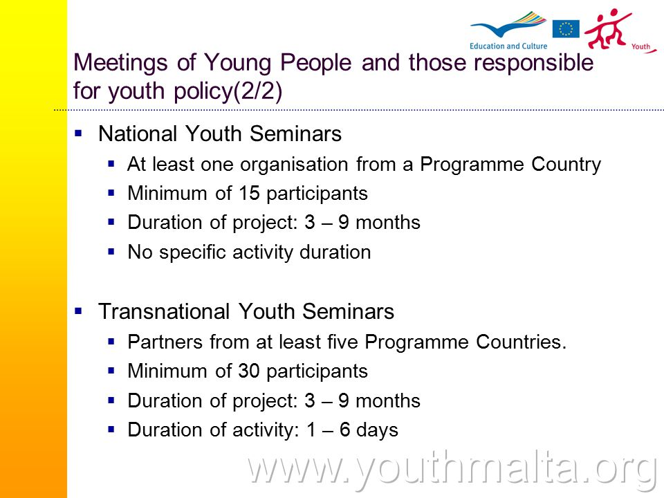 Meetings of Young People and those responsible for youth policy(2/2)  National Youth Seminars  At least one organisation from a Programme Country  Minimum of 15 participants  Duration of project: 3 – 9 months  No specific activity duration  Transnational Youth Seminars  Partners from at least five Programme Countries.