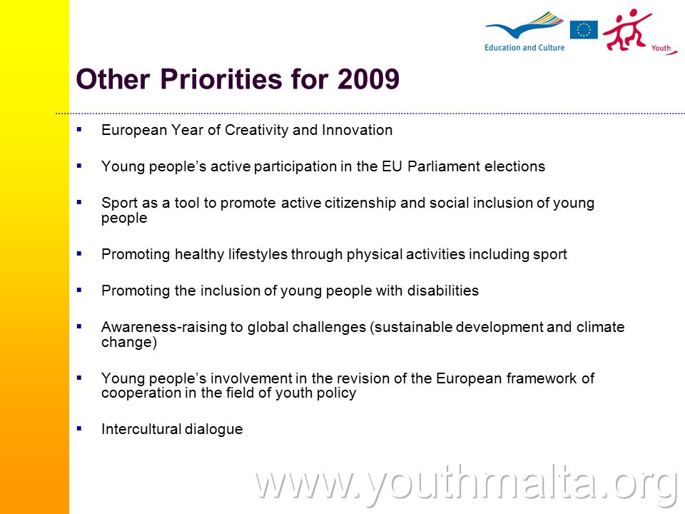 Five Actions  Action 1 - Youth for Europe  Action 2 - European Voluntary Service  Action 3 - Youth in the World  Action 4 - Youth support systems  Action 5 – Support for policy cooperation
