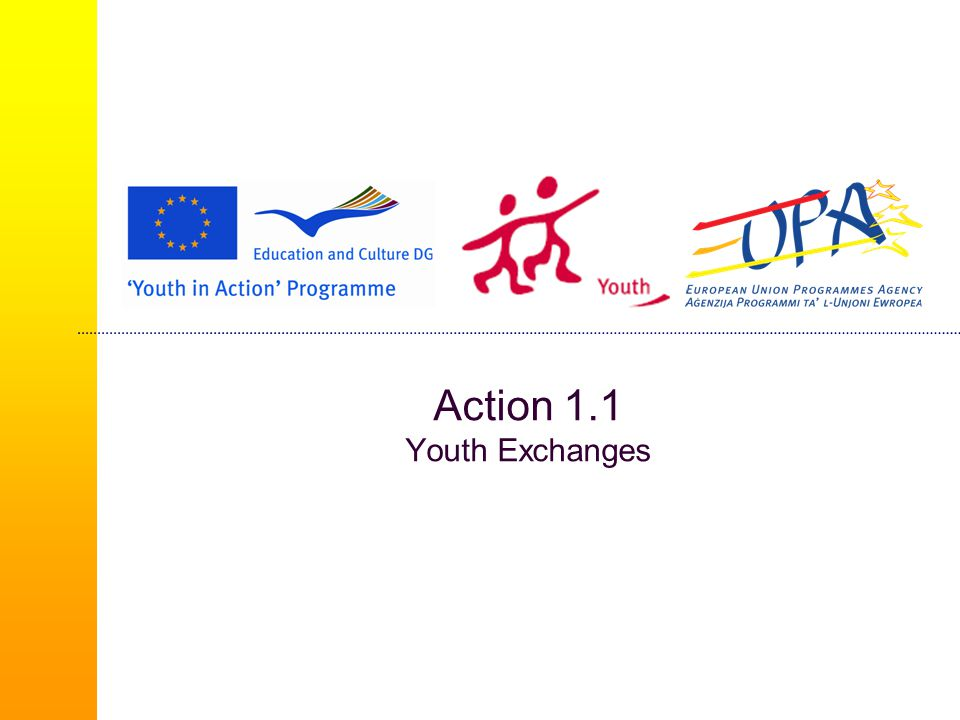 European Voluntary Service (1/3)  Non-profit making international activities that carry an added value for the community  An experience to encourage social integration and prepare youth volunteers for employment  Young people aged between 18 and 30  Voluntary period  Long-term – between 2 months and a year  Short-term – between 2 weeks and 2 months