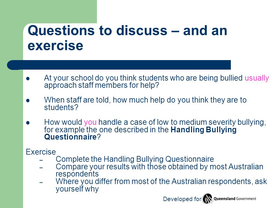 At your school do you think students who are being bullied usually approach staff members for help.