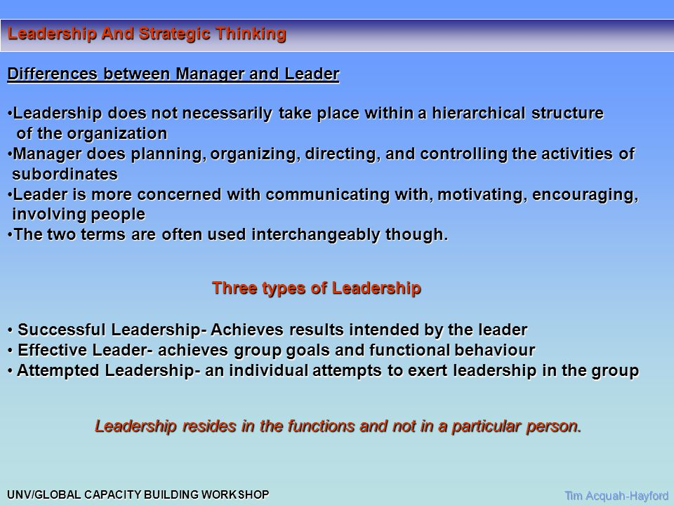 UNV/GLOBAL CAPACITY BUILDING WORKSHOP Leadership And Strategic Thinking Leadership training Three areas of need task needtask need Group needGroup need Individual needIndividual need Leadership Styles DictatorialDictatorial UnitaryUnitary BureaucraticBureaucratic BenevolentBenevolent CharismaticCharismatic ConsultativeConsultative ParticipativeParticipative AbdicationalAbdicational