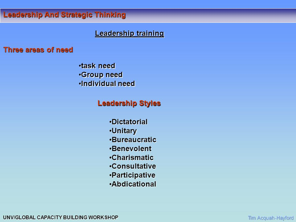 UNV/GLOBAL CAPACITY BUILDING WORKSHOP Leadership And Strategic Thinking Generally Classified into 3 main headings Authoritarian- focus on powerAuthoritarian- focus on power Democratic-participativeDemocratic-participative Genuine Laissez- Faire- Focus of power is with group:Genuine Laissez- Faire- Focus of power is with group: -leader available to help members Another Classification Style: -Tells: Leader identifies solutions for group implementation -Sells: Leader decides and persuades participation -Consults: Leader identifies problem leaves group to identify problem -Joins: Leader defines problems and limits to answer.