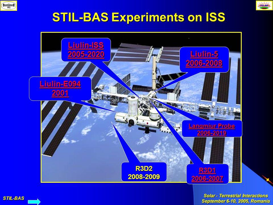 STIL-BAS Solar - Terrestrial Interactions September 6-10, 2005, Romania STIL-BAS Experiments on ISS Liulin-E094 2001 R3D1 2006-2007 Liulin-ISS 2005-20