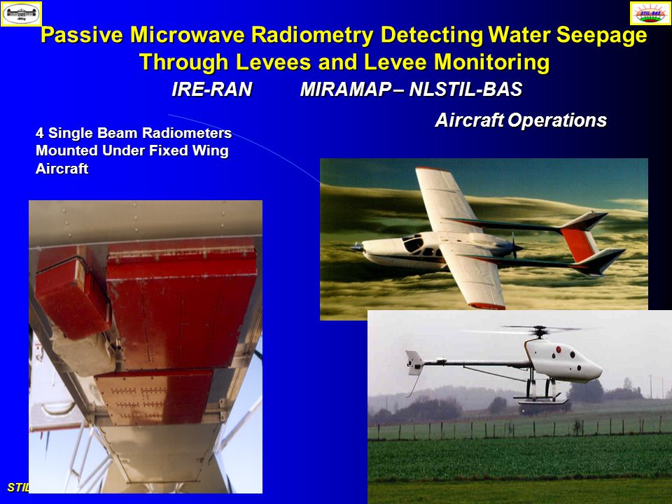 STIL-BAS Solar - Terrestrial Interactions September 6-10, 2005, Romania Passive Microwave Radiometry Detecting Water Seepage Through Levees and Levee Monitoring IRE-RANMIRAMAP – NLSTIL-BAS 4 Single Beam Radiometers Mounted Under Fixed Wing Aircraft Aircraft Operations
