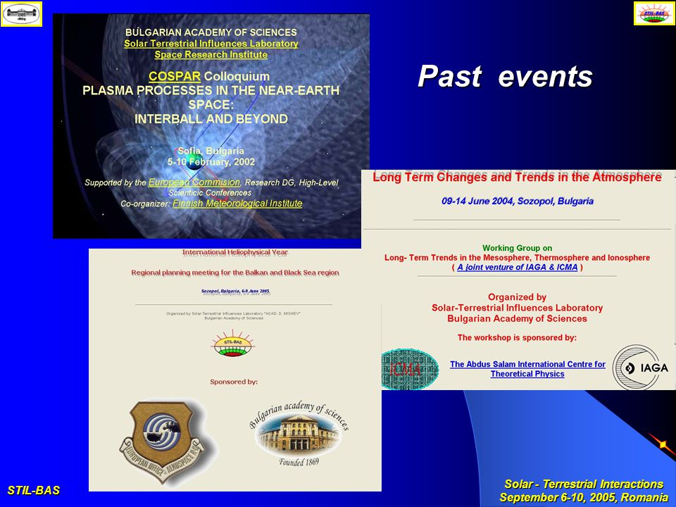 STIL-BAS Solar - Terrestrial Interactions September 6-10, 2005, Romania Past events