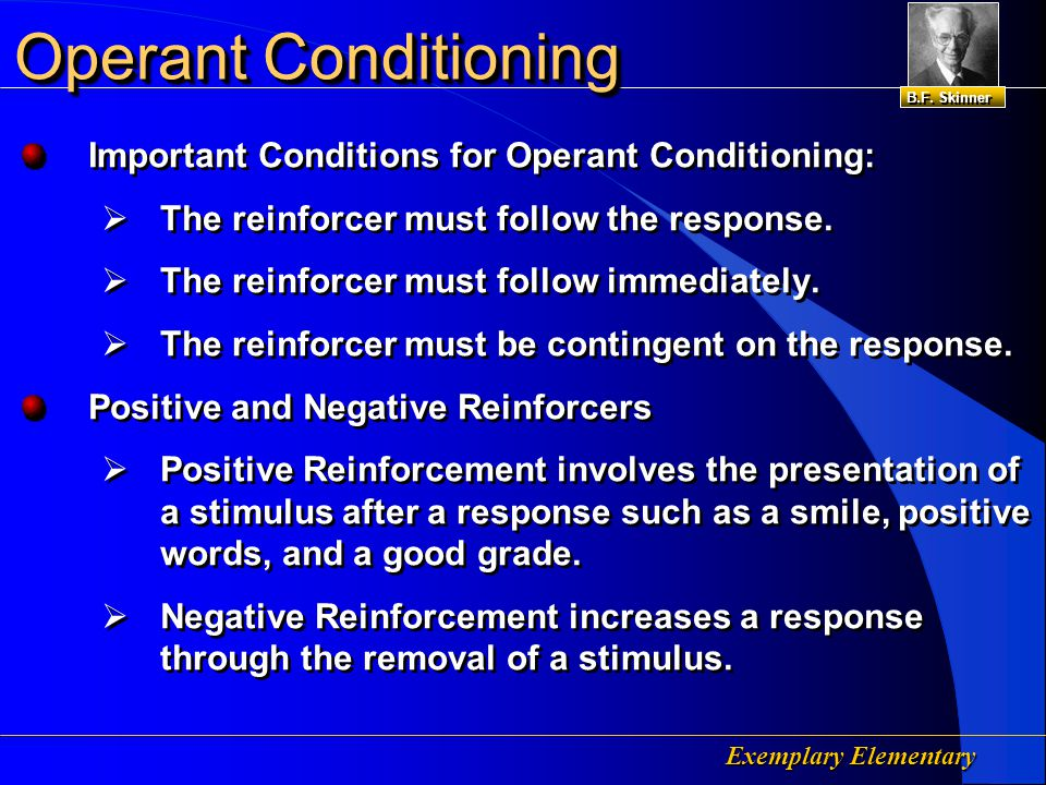 Exemplary Elementary Operant Conditioning Skinner's Basic Law of Operant Conditioning Theory:  Reinforcer – a response that increases in frequency when preceded with a stimulus or event.