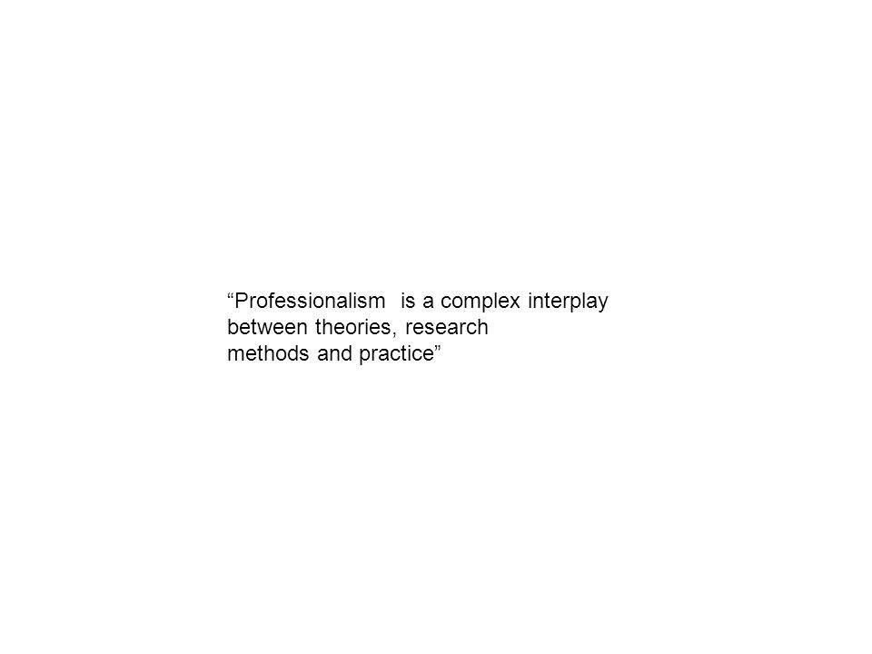 Professionalism is a complex interplay between theories, research methods and practice