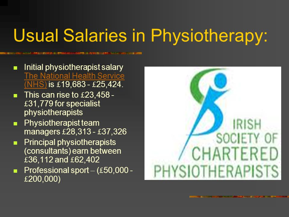 Usual Salaries in Physiotherapy: Initial physiotherapist salary The National Health Service (NHS) is £ 19,683 - £ 25,424.