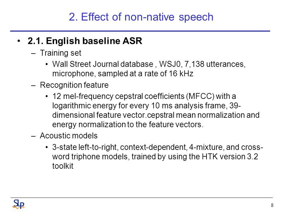 9 2.Effect of non-native speech (cont.) 2.2.