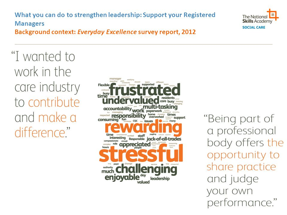 What you can do to strengthen leadership: Support your Registered Managers Background context: Everyday Excellence survey report, 2012