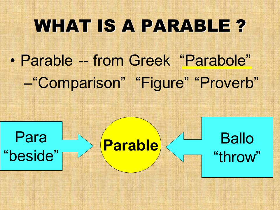 """WHAT IS A PARABLE ? Parable -- from Greek """"Parabole"""" –""""Comparison"""" """"Figure"""" """"Proverb"""" Para """"beside"""" Ballo """"throw"""" Parable"""