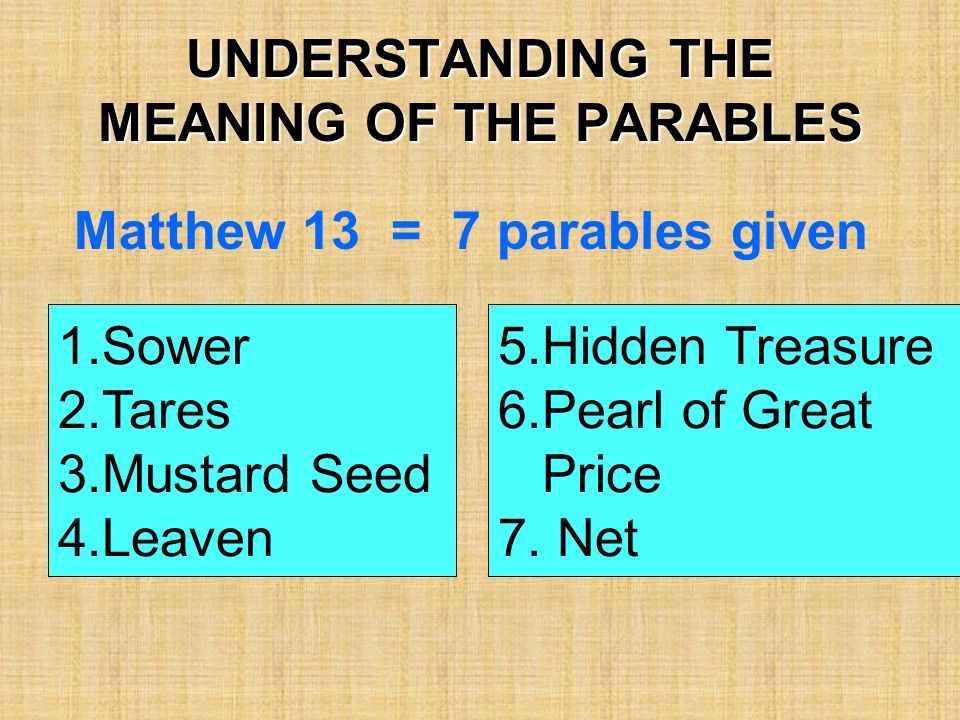 UNDERSTANDING THE MEANING OF THE PARABLES Matthew 13 = 7 parables given 1.Sower 2.Tares 3.Mustard Seed 4.Leaven 5.Hidden Treasure 6.Pearl of Great Pri
