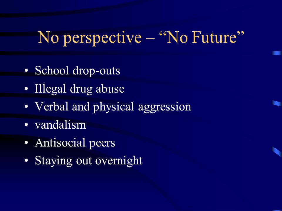 No perspective – No Future School drop-outs Illegal drug abuse Verbal and physical aggression vandalism Antisocial peers Staying out overnight