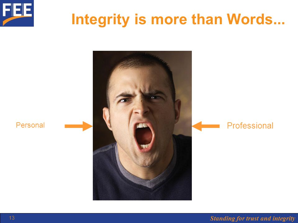 Standing for trust and integrity 13 Integrity is more than Words... Personal Professional BEHAVIOUR