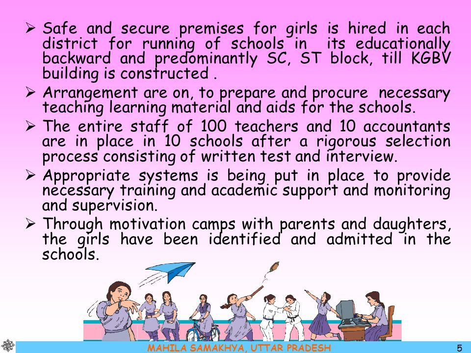 MAHILA SAMAKHYA, UTTAR PRADESH 6 Staff : The following staff is in place for each KGBV Name of the post  Warden cum Teacher  Full time teacher  Science  Maths  Biology  English (any other subject).