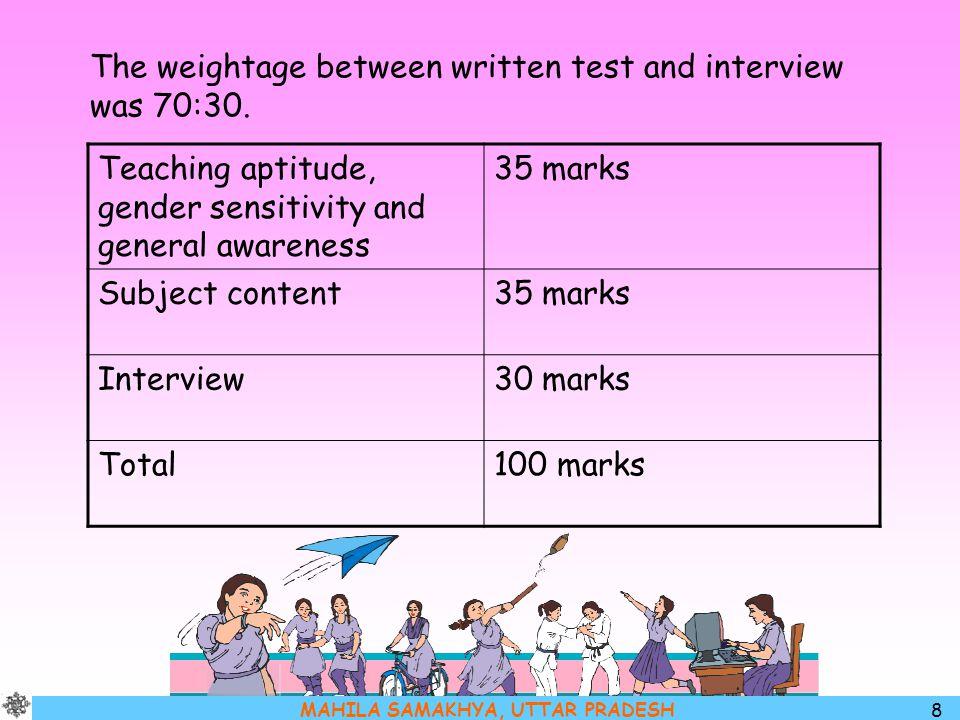MAHILA SAMAKHYA, UTTAR PRADESH 8 The weightage between written test and interview was 70:30. Teaching aptitude, gender sensitivity and general awarene