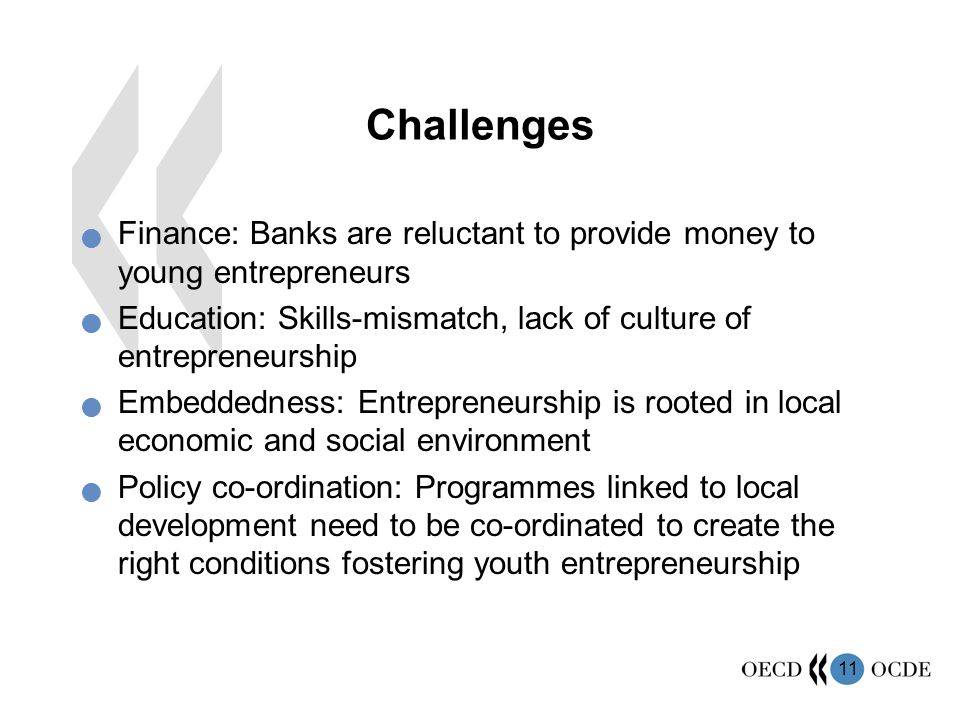 11 Challenges Finance: Banks are reluctant to provide money to young entrepreneurs Education: Skills-mismatch, lack of culture of entrepreneurship Embeddedness: Entrepreneurship is rooted in local economic and social environment Policy co-ordination: Programmes linked to local development need to be co-ordinated to create the right conditions fostering youth entrepreneurship