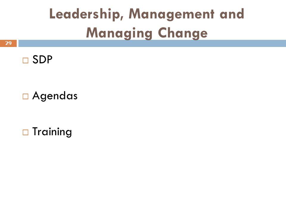 Leadership, Management and Managing Change 29  SDP  Agendas  Training