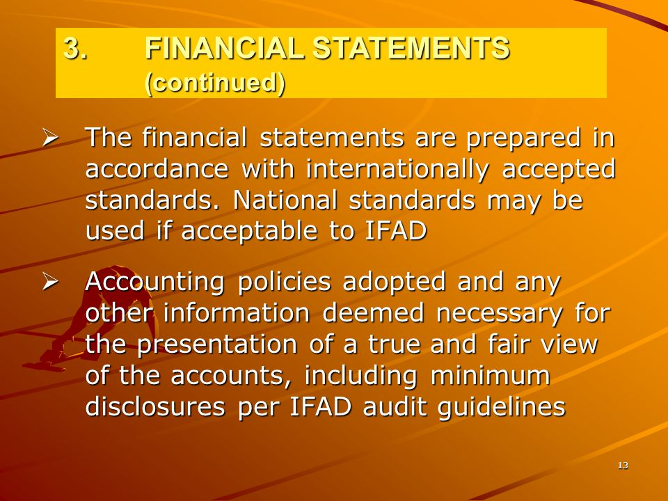 13  The financial statements are prepared in accordance with internationally accepted standards.