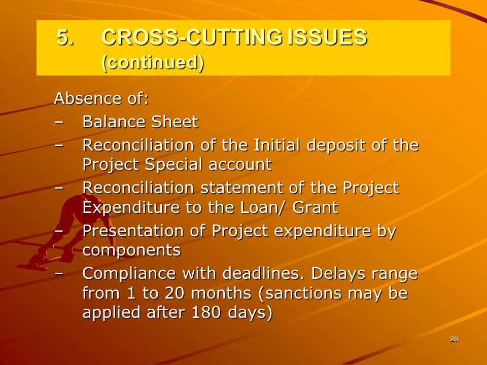 20 Absence of: –Balance Sheet –Reconciliation of the Initial deposit of the Project Special account –Reconciliation statement of the Project Expenditure to the Loan/ Grant –Presentation of Project expenditure by components –Compliance with deadlines.