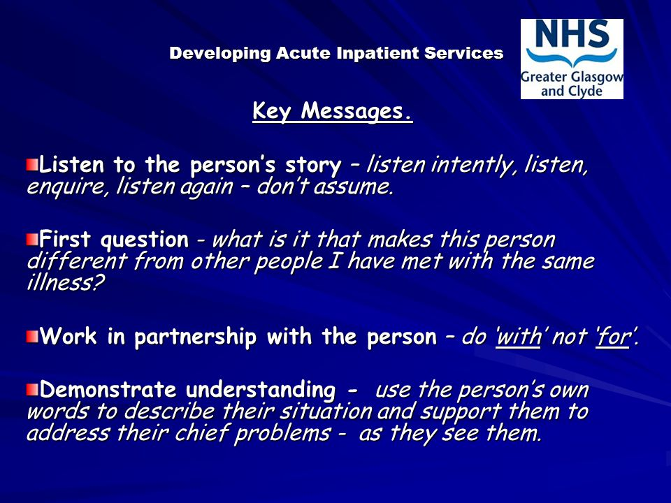 Developing Acute Inpatient Services Key Messages.