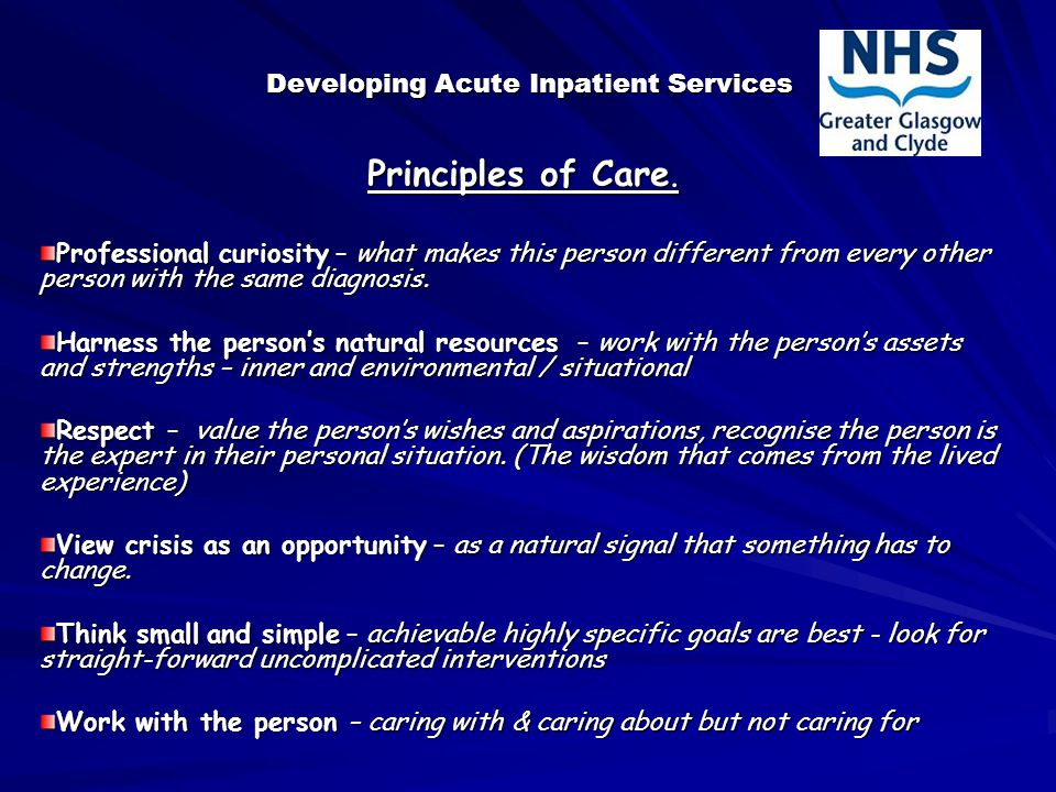 Developing Acute Inpatient Services Principles of Care.