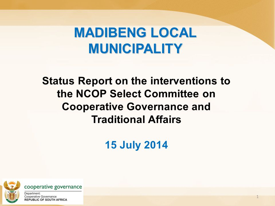 Overview of the Presentation 2 1.Background on Madibeng LM previous interventions; 2.Ministerial Task Team Report 3.Section139 intervention in 2014 4.Progress report on section 154 support to the municipality
