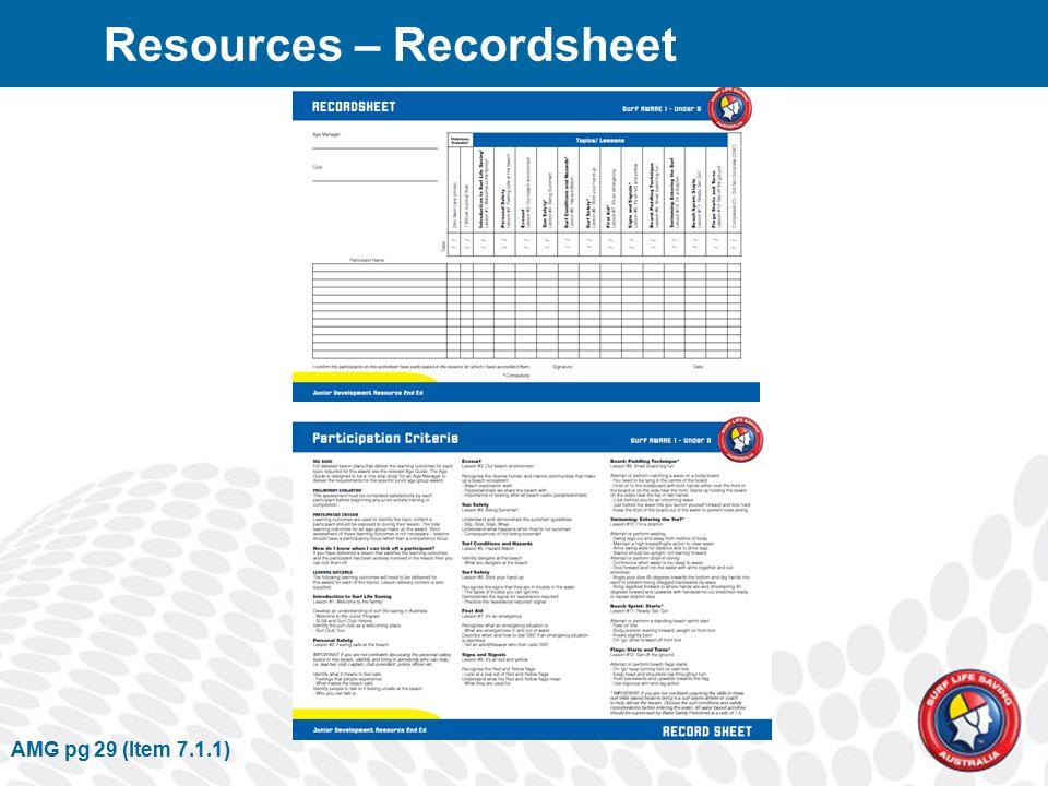 AMG pg 29 (Item 7.1.1) Resources – Recordsheet
