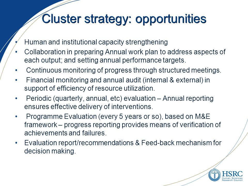 Cluster strategy: opportunities Human and institutional capacity strengthening Collaboration in preparing Annual work plan to address aspects of each output; and setting annual performance targets.