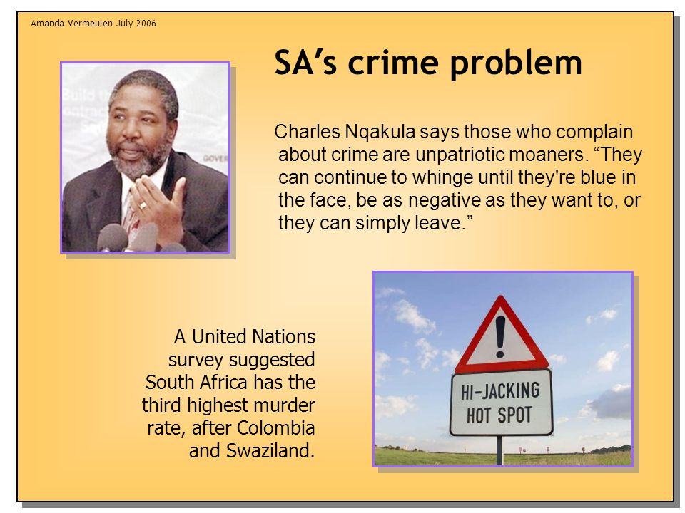 "Amanda Vermeulen July 2006 Charles Nqakula says those who complain about crime are unpatriotic moaners. ""They can continue to whinge until they're blu"