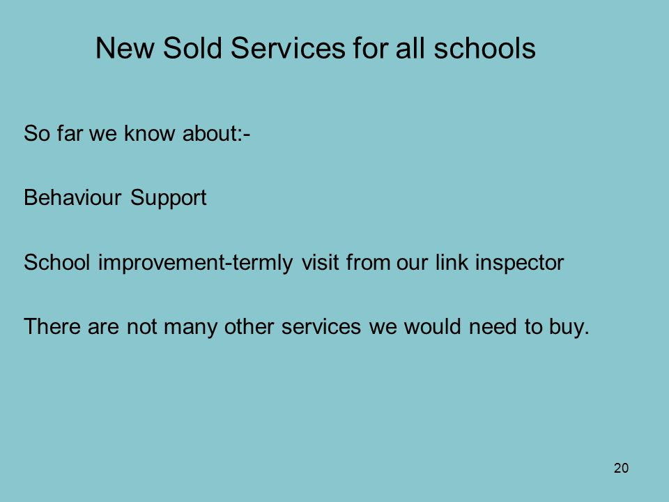 20 New Sold Services for all schools So far we know about:- Behaviour Support School improvement-termly visit from our link inspector There are not many other services we would need to buy.
