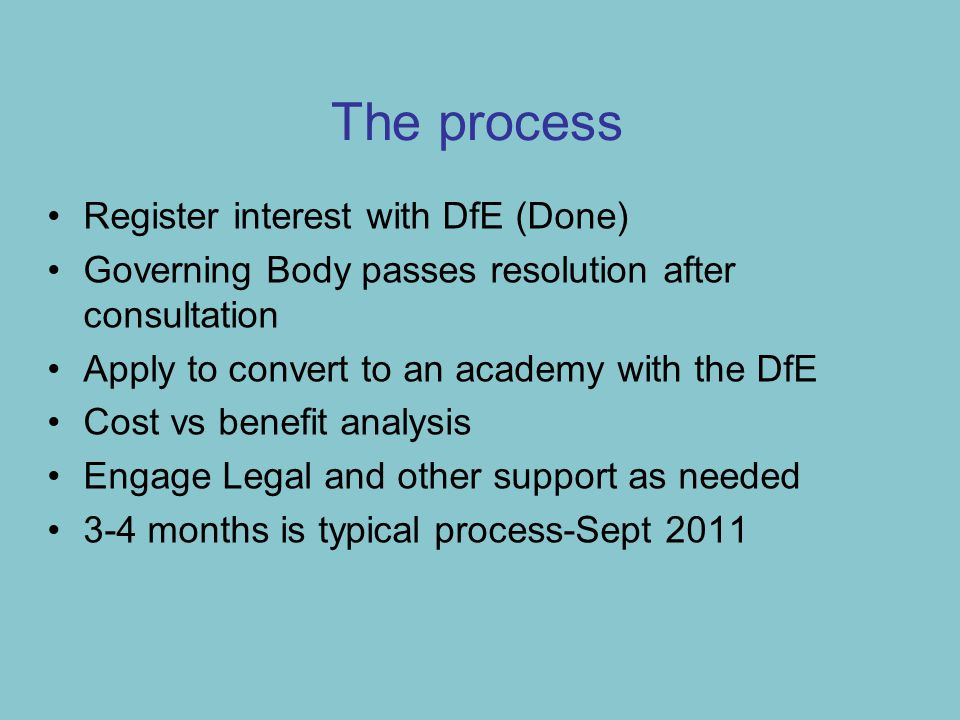 The process Register interest with DfE (Done) Governing Body passes resolution after consultation Apply to convert to an academy with the DfE Cost vs benefit analysis Engage Legal and other support as needed 3-4 months is typical process-Sept 2011