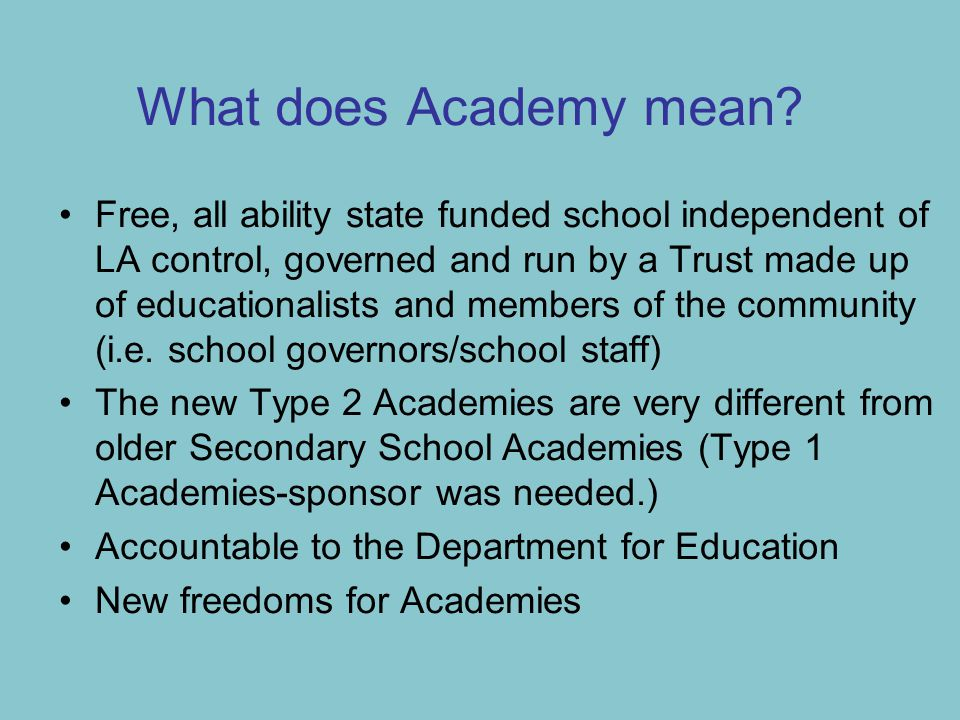 What does Academy mean.