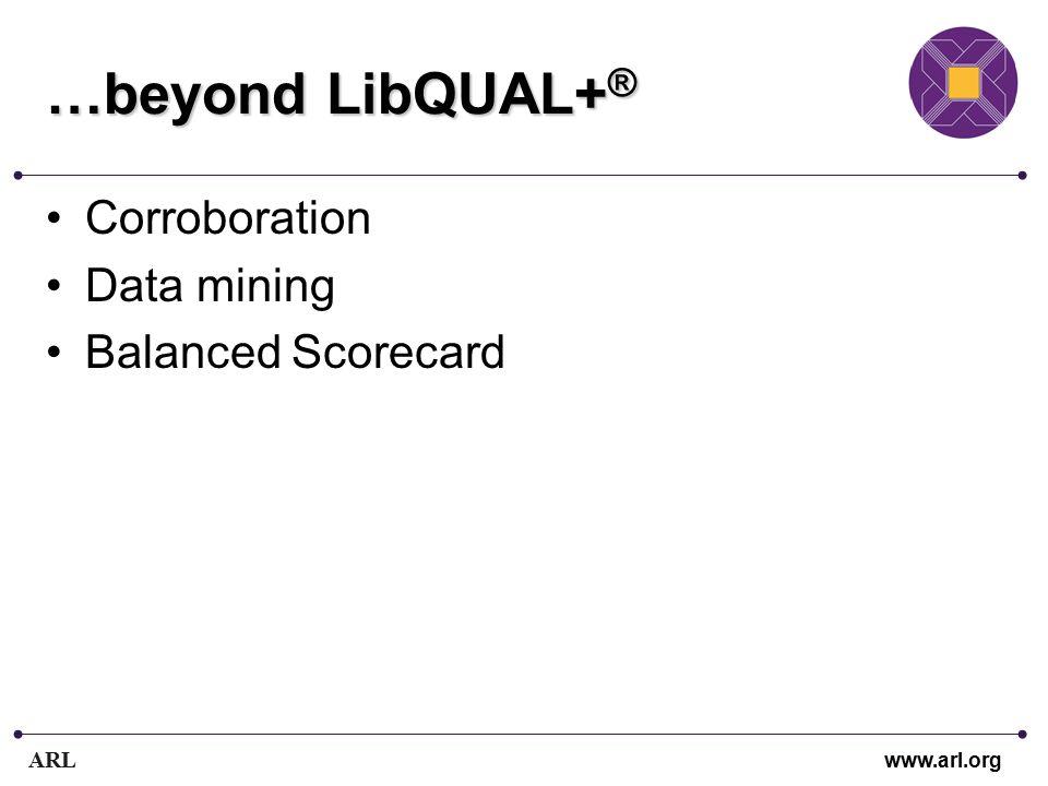 ARL www.arl.org …beyond LibQUAL+ ® Corroboration Data mining Balanced Scorecard