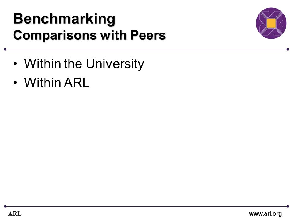 ARL www.arl.org Benchmarking Comparisons with Peers Within the University Within ARL