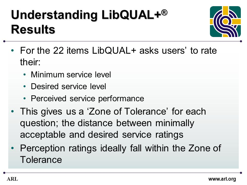 ARL www.arl.org Understanding LibQUAL+ ® Results For the 22 items LibQUAL+ asks users' to rate their: Minimum service level Desired service level Perceived service performance This gives us a 'Zone of Tolerance' for each question; the distance between minimally acceptable and desired service ratings Perception ratings ideally fall within the Zone of Tolerance