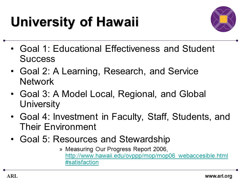 ARL www.arl.org University of Hawaii Goal 1: Educational Effectiveness and Student Success Goal 2: A Learning, Research, and Service Network Goal 3: A Model Local, Regional, and Global University Goal 4: Investment in Faculty, Staff, Students, and Their Environment Goal 5: Resources and Stewardship »Measuring Our Progress Report 2006, http://www.hawaii.edu/ovppp/mop/mop06_webaccesible.html #satisfaction http://www.hawaii.edu/ovppp/mop/mop06_webaccesible.html #satisfaction
