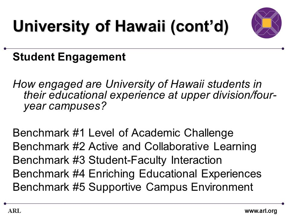 ARL www.arl.org University of Hawaii (cont'd) Student Engagement How engaged are University of Hawaii students in their educational experience at upper division/four- year campuses.
