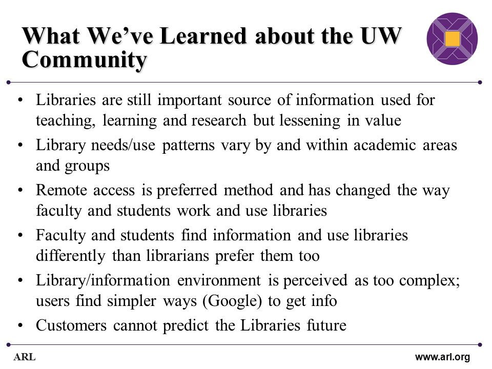 ARL www.arl.org What We've Learned about the UW Community Libraries are still important source of information used for teaching, learning and research but lessening in value Library needs/use patterns vary by and within academic areas and groups Remote access is preferred method and has changed the way faculty and students work and use libraries Faculty and students find information and use libraries differently than librarians prefer them too Library/information environment is perceived as too complex; users find simpler ways (Google) to get info Customers cannot predict the Libraries future