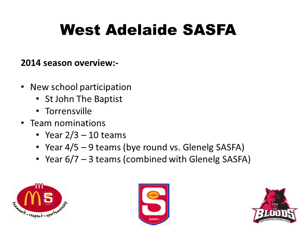 West Adelaide SASFA 2014 season overview:- New school participation St John The Baptist Torrensville Team nominations Year 2/3 – 10 teams Year 4/5 – 9 teams (bye round vs.