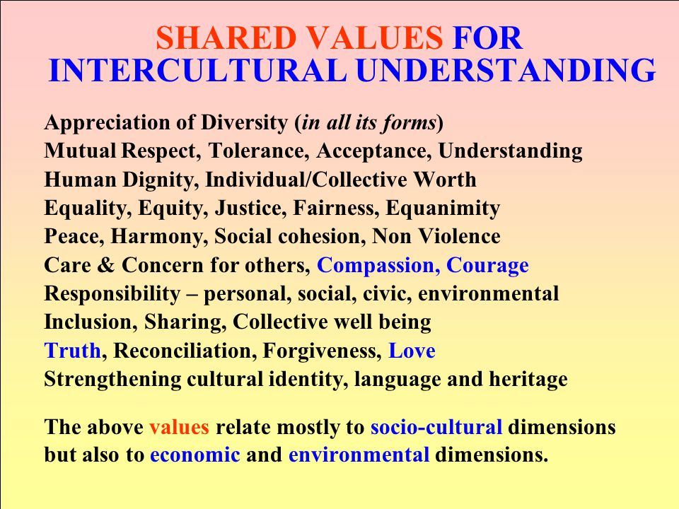 SHARED VALUES FOR INTERCULTURAL UNDERSTANDING Appreciation of Diversity (in all its forms) Mutual Respect, Tolerance, Acceptance, Understanding Human