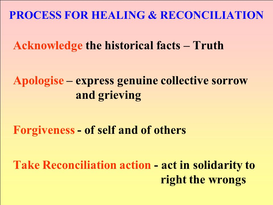 PROCESS FOR HEALING & RECONCILIATION Acknowledge the historical facts – Truth Apologise – express genuine collective sorrow and grieving Forgiveness -