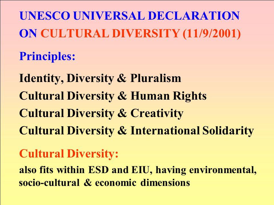 UNESCO UNIVERSAL DECLARATION ON CULTURAL DIVERSITY (11/9/2001) Principles: Identity, Diversity & Pluralism Cultural Diversity & Human Rights Cultural