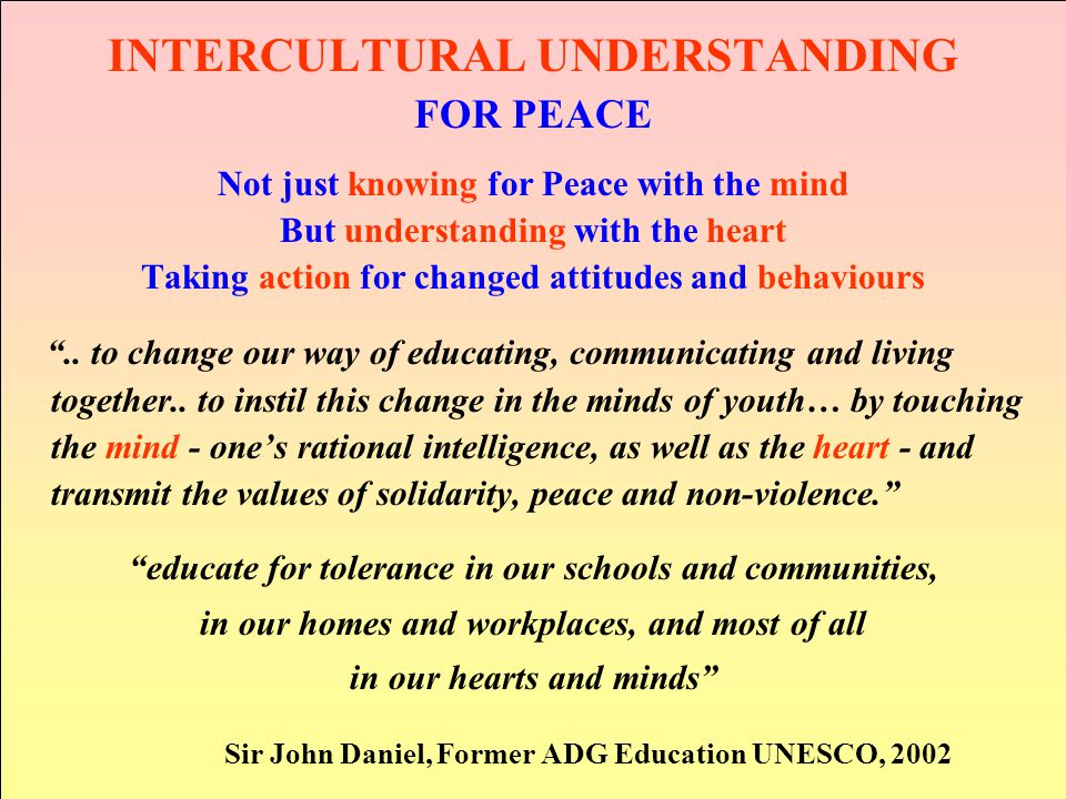 INTERCULTURAL UNDERSTANDING FOR PEACE Not just knowing for Peace with the mind But understanding with the heart Taking action for changed attitudes an