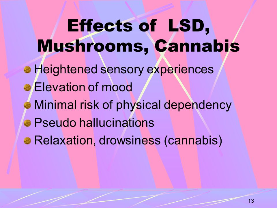 13 Effects of LSD, Mushrooms, Cannabis Heightened sensory experiences Elevation of mood Minimal risk of physical dependency Pseudo hallucinations Relaxation, drowsiness (cannabis)