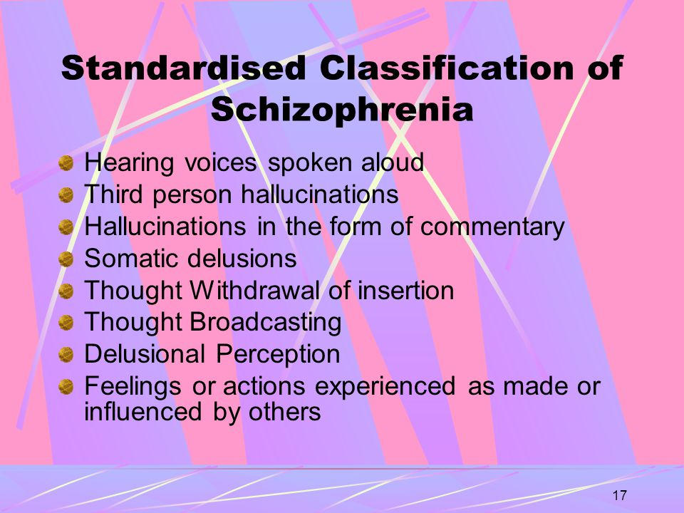 17 Standardised Classification of Schizophrenia Hearing voices spoken aloud Third person hallucinations Hallucinations in the form of commentary Somatic delusions Thought Withdrawal of insertion Thought Broadcasting Delusional Perception Feelings or actions experienced as made or influenced by others