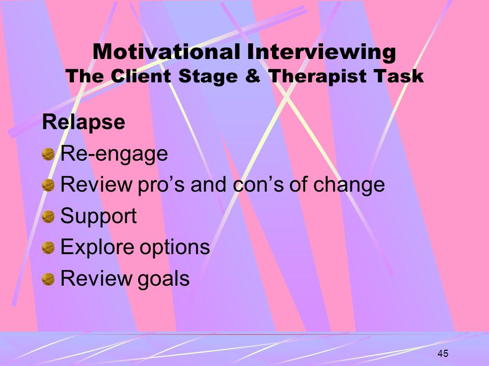45 Motivational Interviewing The Client Stage & Therapist Task Relapse Re-engage Review pro's and con's of change Support Explore options Review goals