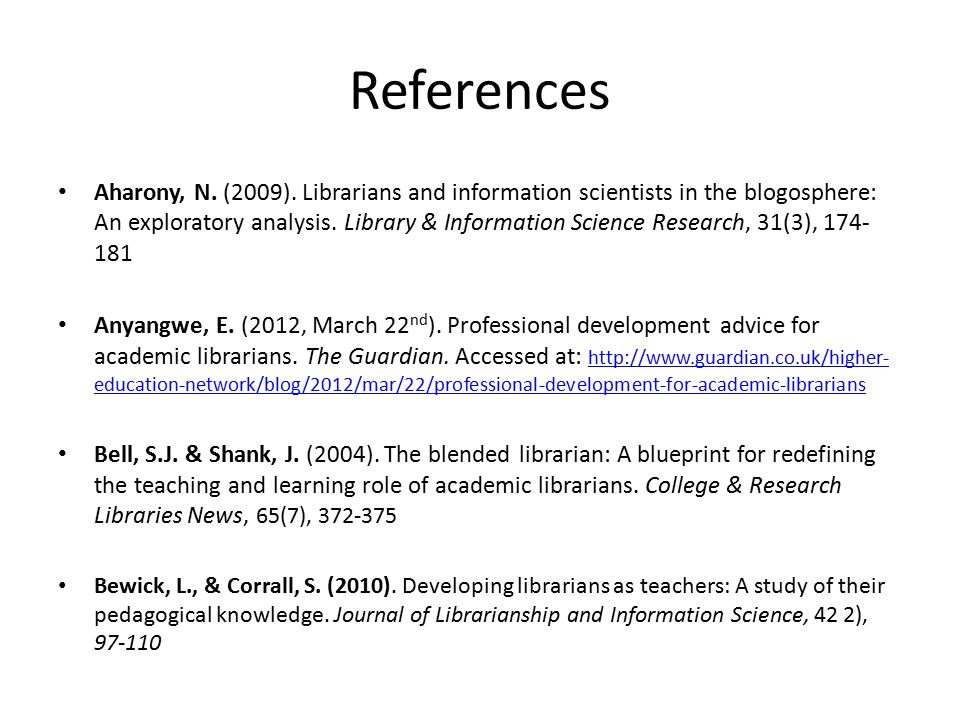 References Aharony, N. (2009).