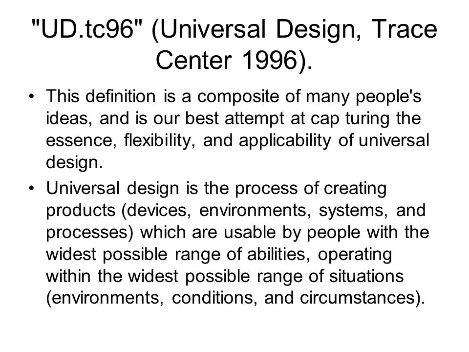 UD.tc96 (Universal Design, Trace Center 1996).